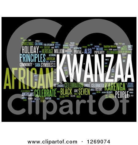 Clipart of a Green White and Blue Kwanzaa Word Tag Collage on Black - Royalty Free Illustration by MacX