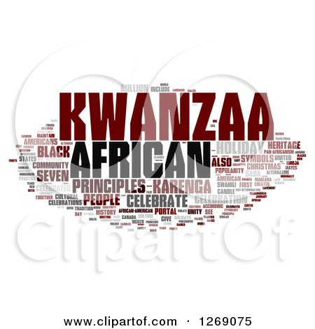 Clipart of a Brown and Gray Kwanzaa Word Tag Collage on White - Royalty Free Illustration by MacX