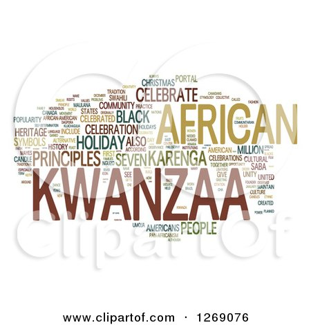 Clipart of a Green and Brown Kwanzaa Word Tag Collage on White - Royalty Free Illustration by MacX