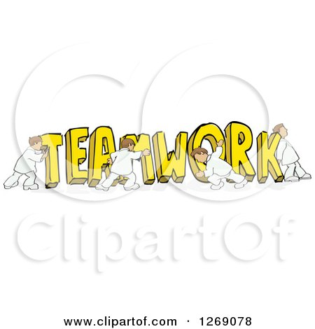 Clipart of a Group of Men Pushing Together Yellow TEAMWORK Text - Royalty Free Vector Illustration by David Rey