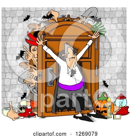 Clipart of a Dracula Vampire Hoarder Trying to Keep Bodies and Items in a Full Closet - Royalty Free Illustration by djart