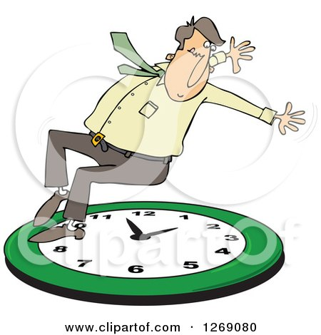 Clipart of a Caucasian Businessman Falling Back on a Green Wall Clock - Royalty Free Vector Illustration by djart