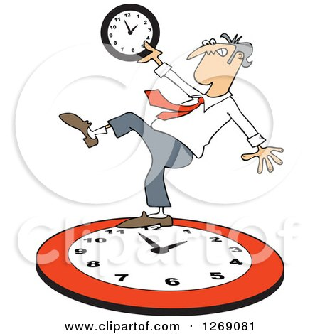 Clipart of a Caucasian Businessman Falling Back on a Red Wall Clock - Royalty Free Vector Illustration by djart