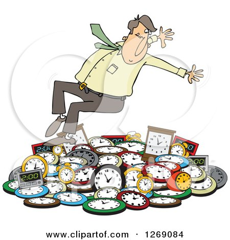 Clipart of a Caucasian Businessman Falling Back on a Pile of Clocks - Royalty Free Vector Illustration by djart