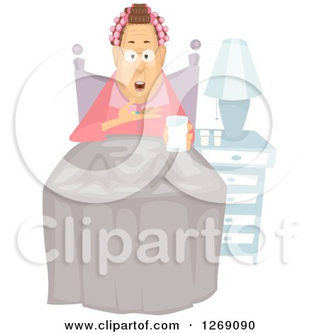 Clipart of a Senior Caucasian Woman Taking a Pill at Bed Time - Royalty Free Vector Illustration by BNP Design Studio