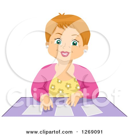 Clipart of a Happy Senior Caucasian Woman Playing Cards - Royalty Free Vector Illustration by BNP Design Studio