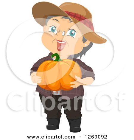 Clipart of a Happy Caucasian Senior Woman Holding a Pumpkin - Royalty Free Vector Illustration by BNP Design Studio