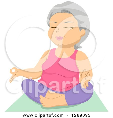 Clipart of a Relaxed Senior Caucasian Woman Meditating or Doing Yoga - Royalty Free Vector Illustration by BNP Design Studio