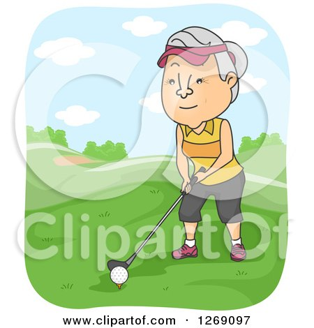 Clipart of a Senior Caucasian Woman Golfing - Royalty Free Vector Illustration by BNP Design Studio