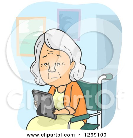 Clipart of a Sad Senior Caucasian Woman Looking at a Picture and Sitting in a Wheelchair in a Nursing Home - Royalty Free Vector Illustration by BNP Design Studio