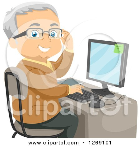 Clipart of a Senior Caucasian Man Adjusting His Glasses and Using a Desktop Computer - Royalty Free Vector Illustration by BNP Design Studio