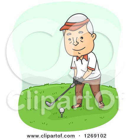 Clipart of a Senior Caucasian Man Golfing - Royalty Free Vector Illustration by BNP Design Studio