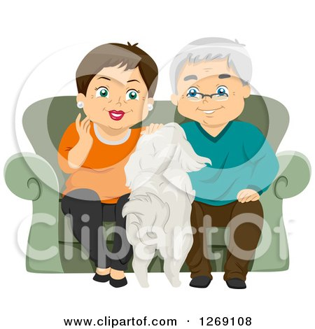 Clipart of a Senior Caucasian Couple Sitting on a Couch and Petting Their Dog - Royalty Free Vector Illustration by BNP Design Studio