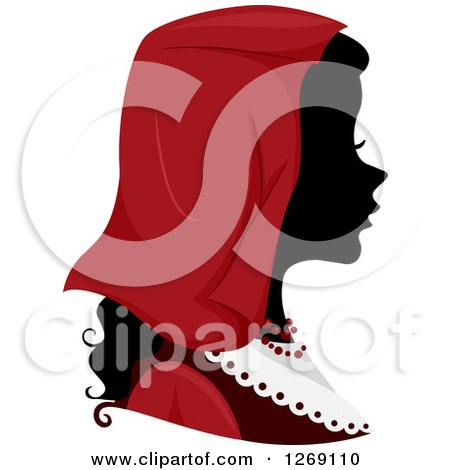 Clipart of a Silhouetted Black Italian Woman's Face with a Red Headdress - Royalty Free Vector Illustration by BNP Design Studio