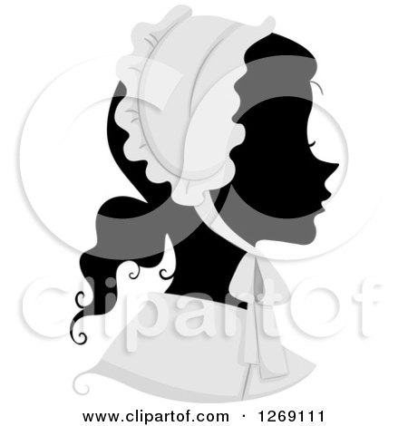 Clipart of a Silhouetted Black Woman's Face with a Grayscale American Pilgrim Bonnet - Royalty Free Vector Illustration by BNP Design Studio