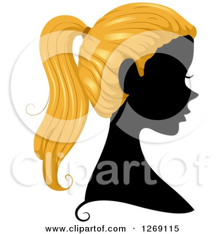 Clipart of a Silhouetted Black Woman's Face with Blond Hair in a Pony Tail - Royalty Free Vector Illustration by BNP Design Studio
