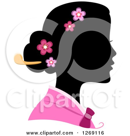 Clipart of a Silhouetted Black Korean Woman's Face with a Colored Kimono and Blossoms in Her Hair - Royalty Free Vector Illustration by BNP Design Studio