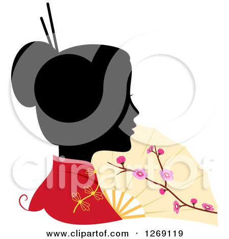 Clipart Of A Silhouetted Black Chinese Womans Face With A Colored Kimono And Fan Royalty Free Vector Illustration