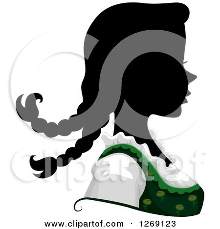 Clipart of a Silhouetted Black German Woman's Face with a Colored Dress - Royalty Free Vector Illustration by BNP Design Studio