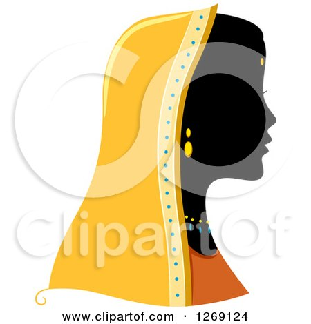 Clipart of a Silhouetted Black Indian Woman's Face with a Colored Headdress - Royalty Free Vector Illustration by BNP Design Studio