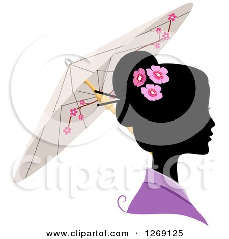 Clipart of a Silhouetted Black Japanese Woman's Face with a Colored Kimono and Umbrella - Royalty Free Vector Illustration by BNP Design Studio