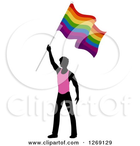 Clipart of a Black Silhouetted Man in a Pink Shirt, Holding up a Rainbow Gay Pride Flag - Royalty Free Vector Illustration by BNP Design Studio