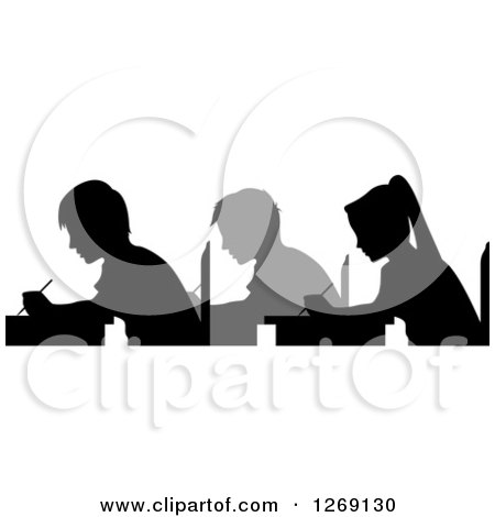 Clipart of Gray and Black Silhouetted Students Taking an Exam - Royalty Free Vector Illustration by BNP Design Studio