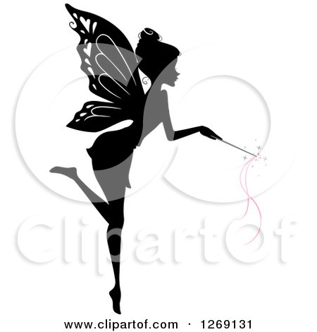 Clipart of a Silhouetted Black and White Flying Fairy Using a Magic Wand with Pink Waves - Royalty Free Vector Illustration by BNP Design Studio