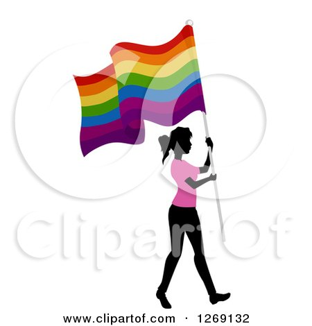 Clipart of a Silhouetted Black Woman Wearing a Pink Shirt and Walking with a Gay Pride Flag - Royalty Free Vector Illustration by BNP Design Studio