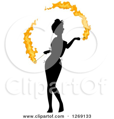 Clipart of a Silhouetted Black Woman Fire Dancing with Colored Flames - Royalty Free Vector Illustration by BNP Design Studio