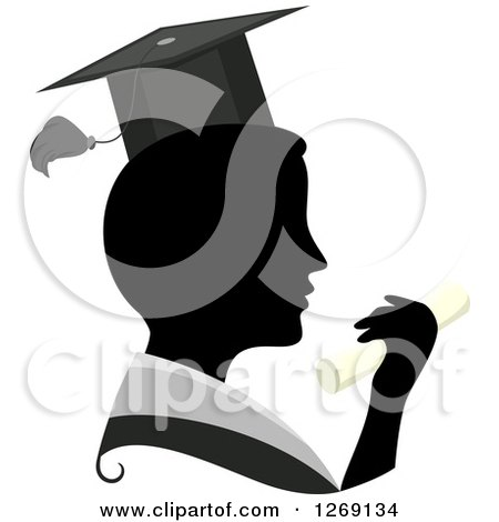 Clipart of a Silhouetted Black Graduate Man's Face with a Grayscale Collar, Hat and Colored Diploma - Royalty Free Vector Illustration by BNP Design Studio