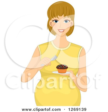 Clipart of a Happy Blond Pregnant White Woman Eating a Cupcake - Royalty Free Vector Illustration by BNP Design Studio