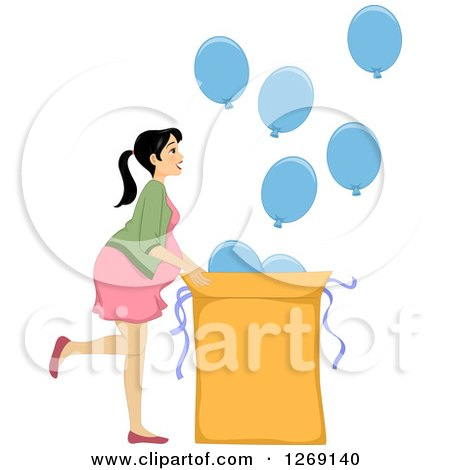 Clipart of a Brunette White Prengnat Woman Revealing the Gender of Her Baby with Blue Balloons for a Boy - Royalty Free Vector Illustration by BNP Design Studio