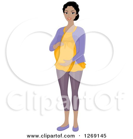 Clipart of a Happy Pregnant Young Black Woman Holding Her Belly - Royalty Free Vector Illustration by BNP Design Studio
