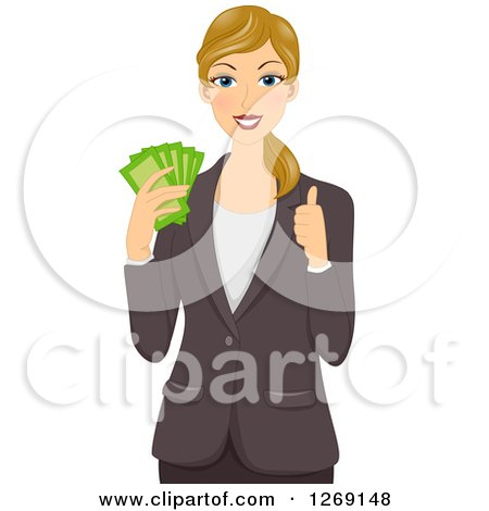 Clipart of a White Caucasian Business Woman Holding Cash Money and a Thumb up - Royalty Free Vector Illustration by BNP Design Studio