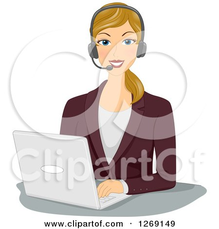 Clipart of a Happy Blond Caucasian Businesswoman Wearing a Headset and Working on a Laptop - Royalty Free Vector Illustration by BNP Design Studio