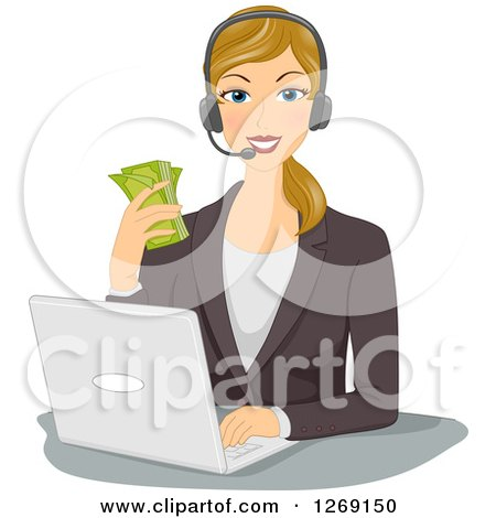Clipart of a Blond Caucasian Business Woman Wearing a Headset, Holding Cash and Working on a Laptop - Royalty Free Vector Illustration by BNP Design Studio