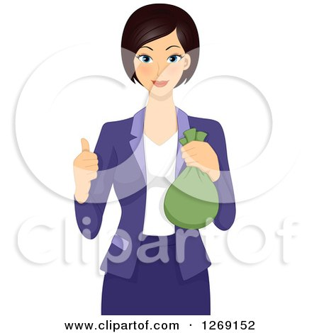 Clipart of a Young Businesswoman Holding a Money Bag and Giving a Thumb up - Royalty Free Vector Illustration by BNP Design Studio