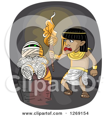 Clipart of an Ancient Egyptian Man Discovering a Mummy in a Tomb - Royalty Free Vector Illustration by BNP Design Studio