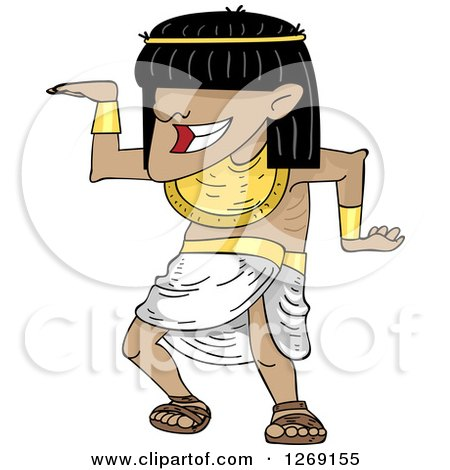 Clipart of an Ancient Egyptian Man Dancing - Royalty Free Vector Illustration by BNP Design Studio