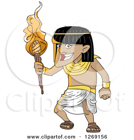 Clipart of a Happy Ancient Egyptian Man with a Torch - Royalty Free Vector Illustration by BNP Design Studio