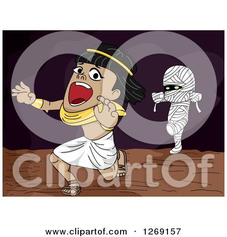 Clipart of a Mummy Chasing a Scared Ancient Egyptian Man - Royalty Free Vector Illustration by BNP Design Studio
