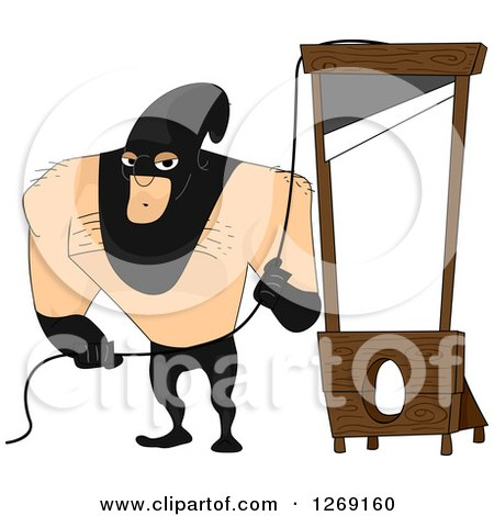 Clipart of a Beefy Male Executioner Ready at a Guillotine - Royalty Free Vector Illustration by BNP Design Studio