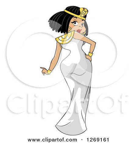 Clipart of an Ancient Egyptian Woman, Cleopatra, Looking Back over Her Shoulder - Royalty Free Vector Illustration by BNP Design Studio