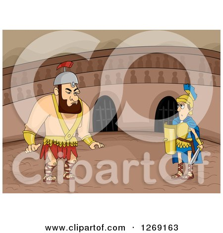 Clipart of Big and Small Roman Gladiators Ready to Fight in an Arena - Royalty Free Vector Illustration by BNP Design Studio