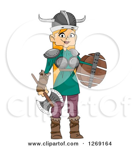 Clipart of a Red Haired Viking Woman with a Battle Axe and Shield - Royalty Free Vector Illustration by BNP Design Studio