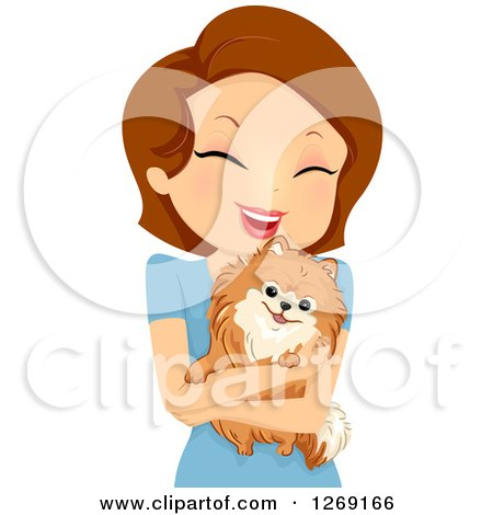 Clipart of a Happy Brunette Caucasian Woman Hugging Her Pomeranian Dog - Royalty Free Vector Illustration by BNP Design Studio