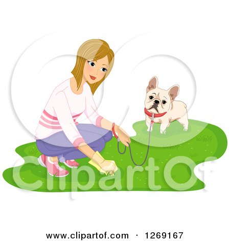 Clipart of a Blond Caucasian Woman Picking up Dog Poop While Walking a French Bulldog - Royalty Free Vector Illustration by BNP Design Studio