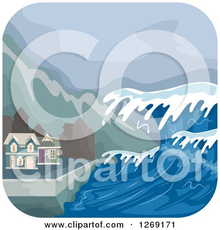 Clipart of a Tsunami Wave Approaching Coastal Homes - Royalty Free Vector Illustration by BNP Design Studio