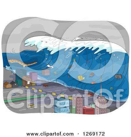 Clipart of a Tsunami Wave Going Through a City - Royalty Free Vector Illustration by BNP Design Studio